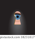 Blue eyes in the keyhole. 38231617