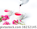 Person pouring tea with rose flowers on a table 38232145