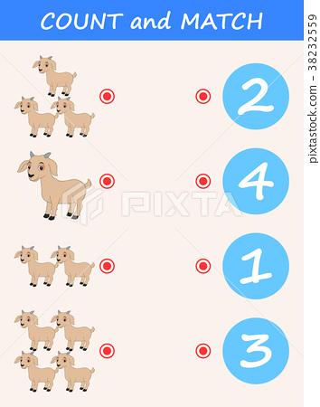Count and match goat cartoon. Math educational gam 38232559