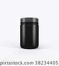 3d rendering of a black jar of sports nutrition on 38234405