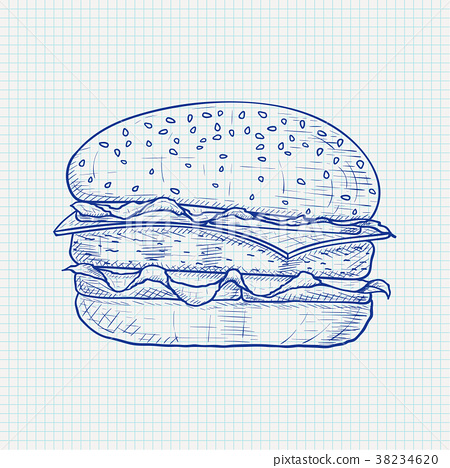 Hamburger. Hand drawn sketch on lined paper 38234620