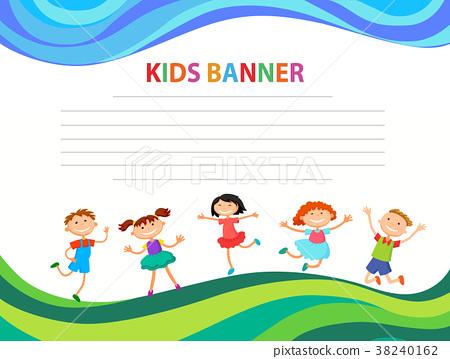 happy children run on the banner vector template 38240162