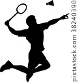 Badminton Player Silhouette 38240390