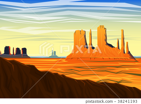Mountain and Monument Valley, morning panoramic 38241193