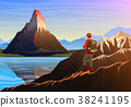 Mountain matterhorn with tourist, morning 38241195