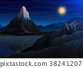 Mountain matterhorn, Night panoramic view of peaks 38241207