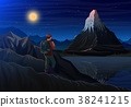 Mountain matterhorn with tourist, Night panoramic 38241215