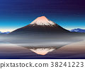 Mountain Fuji, night panoramic view with 38241223