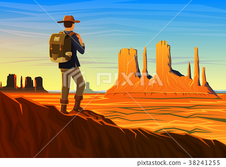 Mountain and Monument Valley with tourist, morning 38241255