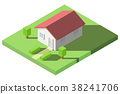 Vector Isometric of House on the grass with garden 38241706