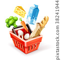 Shopping basket with organic food 38241944