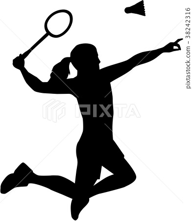 Silhouette of Badminton woman 38242316