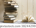 Open book, hardback books on wooden table. Back to 38244299