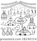 Line Hand Drawn Doodle Happy Easter Day Vector Set 38246154