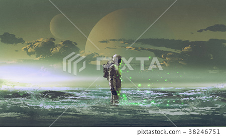 astronaut standing by the sea 38246751