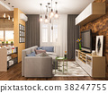 3d illustration living room interior design 38247755