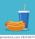 cup with soda and hotdog 38250874