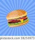 Hamburger with cheese, tomato and salad. 38250973