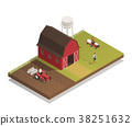 Gardening Farm Machinery Isometric Composition  38251632