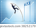 Businessman jumping over tax in tax evasion 38252170