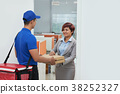 Receiving pizza in office 38252327