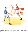 Basketball players in abstract flat style. Men 38254685