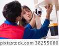 Client getting securty camera installed at home by 38255080