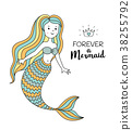 mermaid, vector, sea 38255792