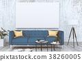 mock up poster frame in interior room , 3D render 38260005