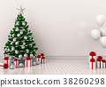 mock up poster frame Christmas interior  room. 3d  38260298