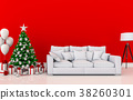 mock up poster frame Christmas interior  room. 3d  38260301