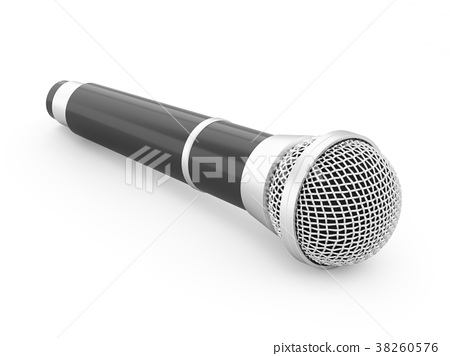 3d rendering microphone isolated 38260576