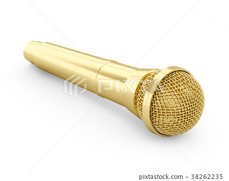 3d rendering golden microphone isolated 38262235