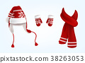 3D vector knitted santa hat, mittens and scarf 38263053