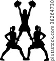 Cheerleading pyramid silhouette 38264730