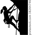 Female climber silhouette in ropes an a rock 38264746