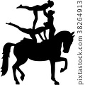 Horse Vaulting of three women 38264913