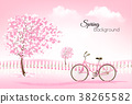 Spring background with a blossoming tree  38265582