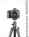 Black DSLR Camera on tripod isolated on white 38268902