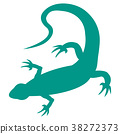 Stylized icon of a colored lizard on a white 38272373