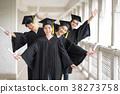 Happily graduates are celebrating graduation. 38273758