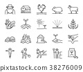 Farm and agriculture line icon set 38276009