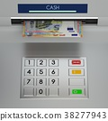 Atm machine keypad with euro banknotes 38277943
