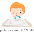 Kid Boy Bubble Painting Illustration 38279882