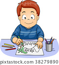 Kid Boy Pencil Coloring Activity Illustration 38279890