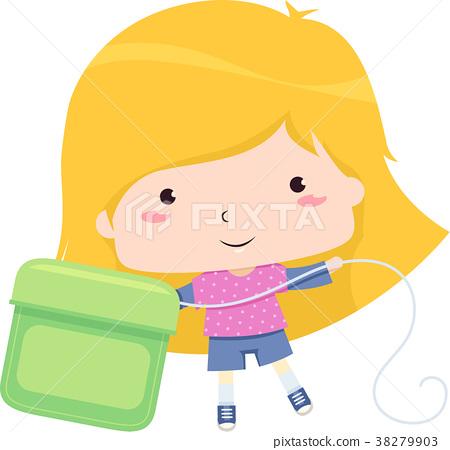 Kid Girl Big Dental Floss Illustration 38279903