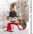 red squirrels together with an snowman 38280091
