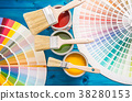 Paint cans color palette, cans opened with brushes 38280153