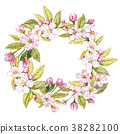 Hand-drawn watercolor wreath of flowers of apples 38282100