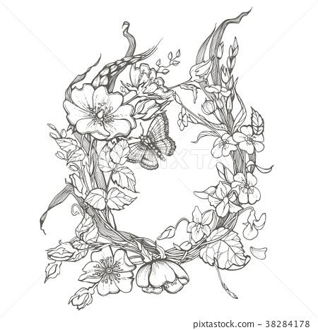 Wild dog rose flowers frame contour ink adult 38284178